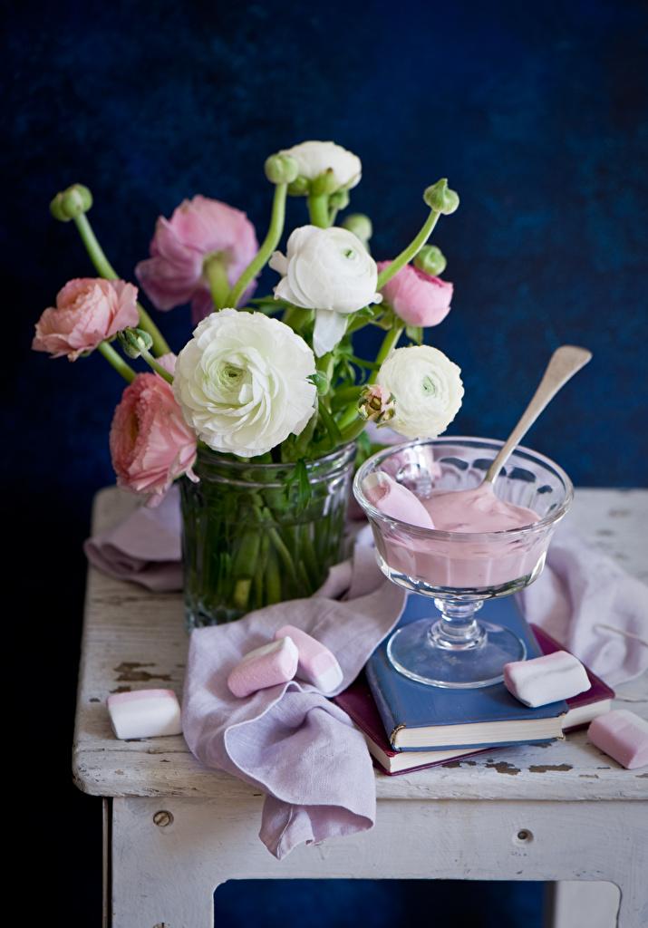 Фотографии зефирки Цветы Лютик Книга Сладости Натюрморт Маршмэллоу книги