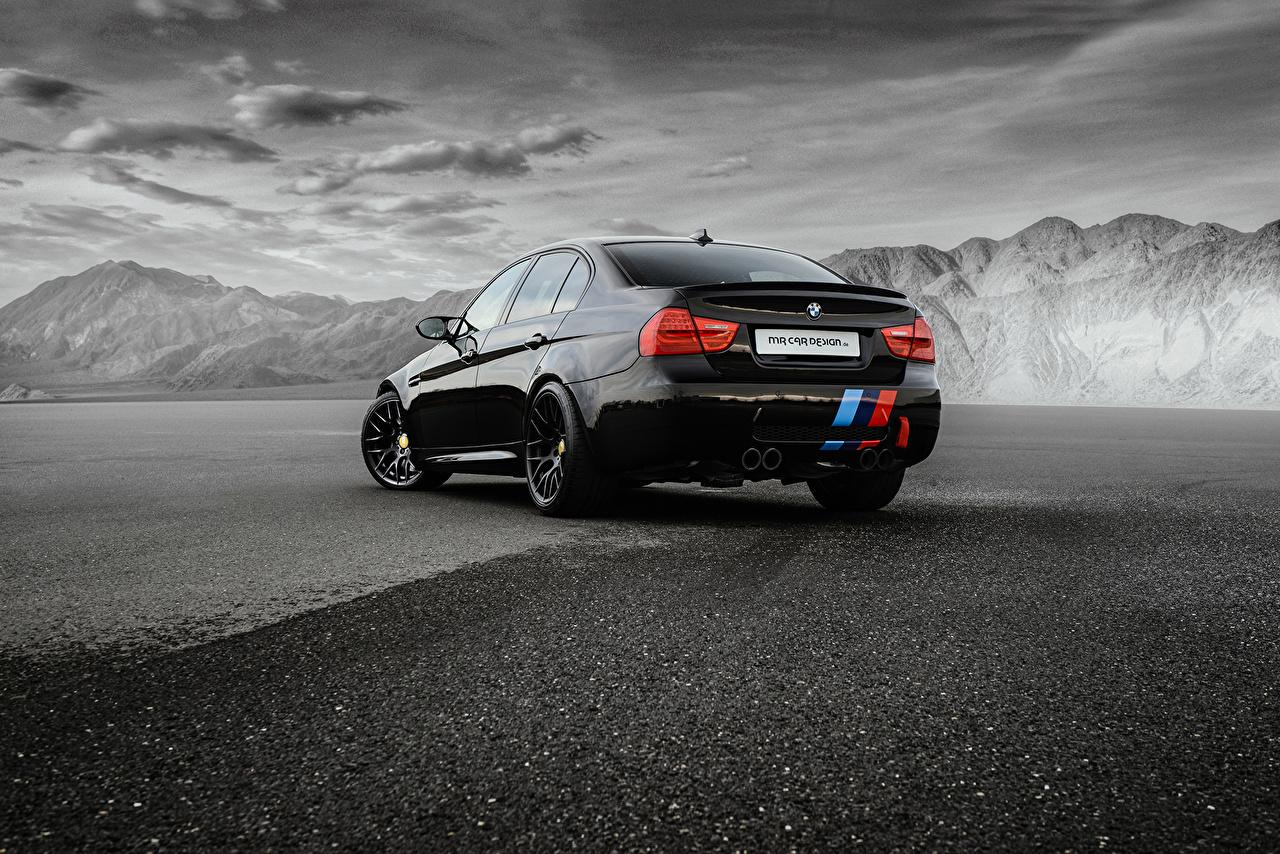 Фотографии BMW M3 Sedan E90 Седан Черный вид сзади Автомобили БМВ черных черные черная авто Сзади машина машины автомобиль