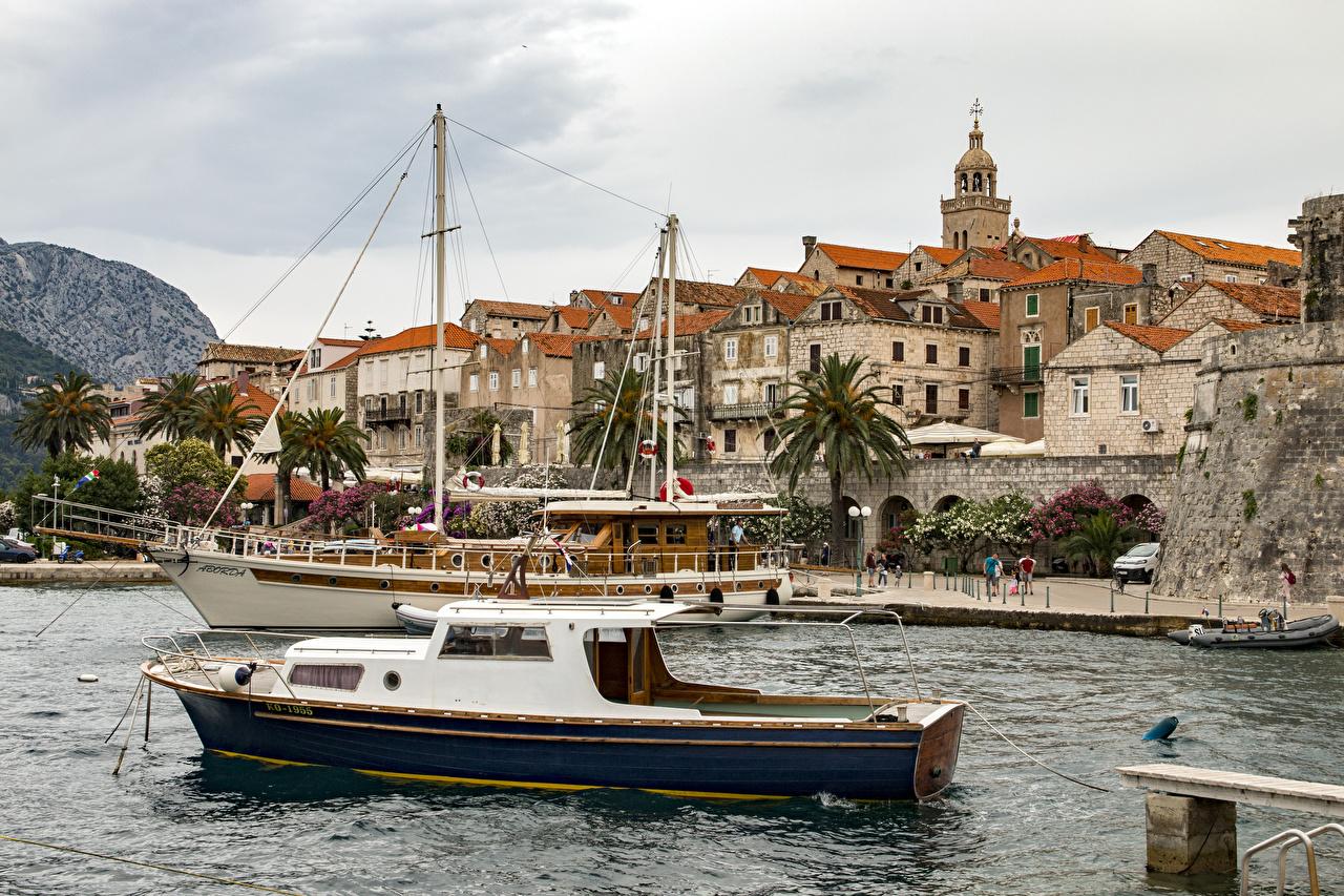 Фотография Хорватия Korčula Речные суда заливы город Здания Залив залива Дома Города