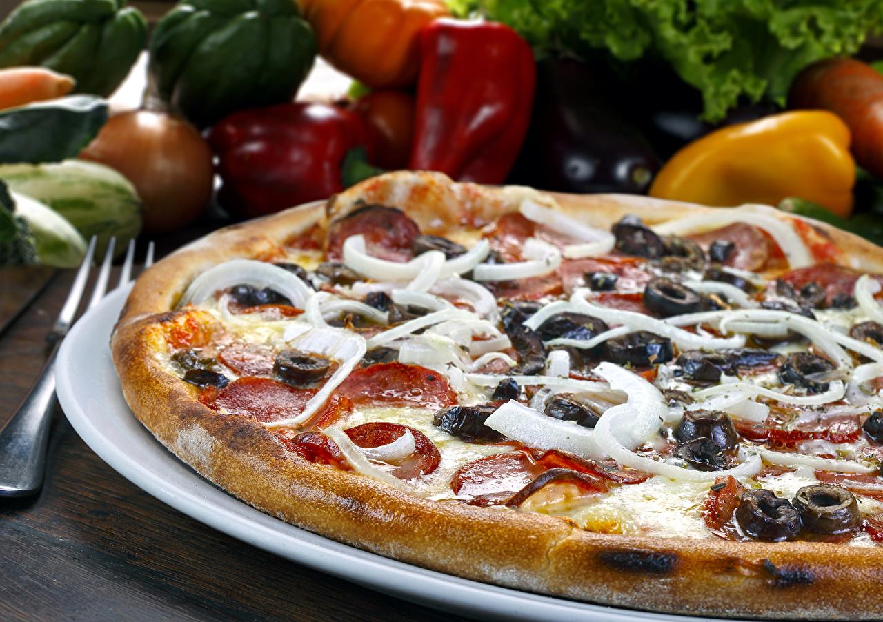 Обои для рабочего стола Пицца Фастфуд Продукты питания вблизи Быстрое питание Еда Пища Крупным планом