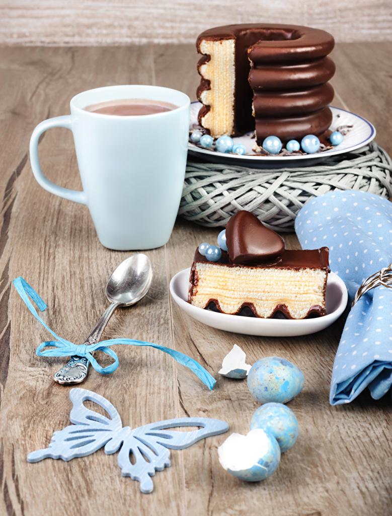 Фото Бабочки сердечко Яйца Шоколад Торты Какао напиток часть Еда Ложка Чашка Сердце Горячий шоколад Кусок Пища Продукты питания