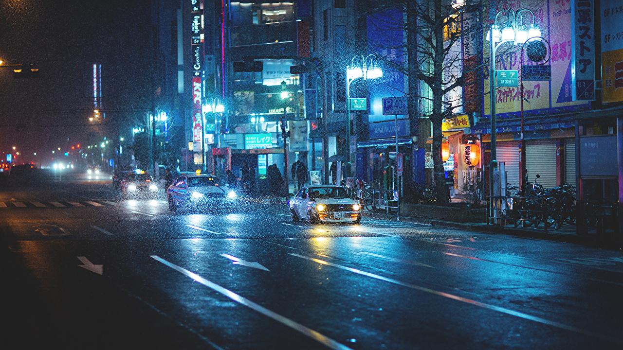 Обои ночь, Япония. Города foto 7