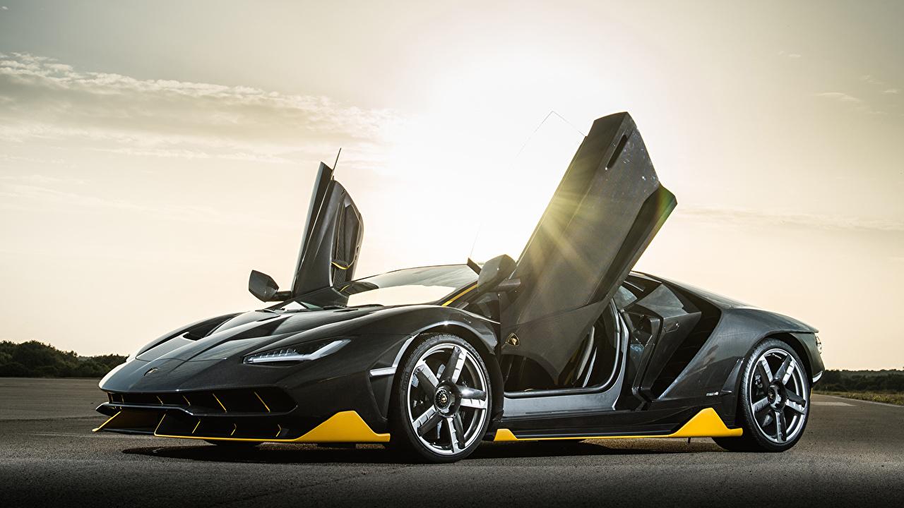 Картинки авто Ламборгини Centenario Coupe Открытая дверь машина машины автомобиль Автомобили Lamborghini