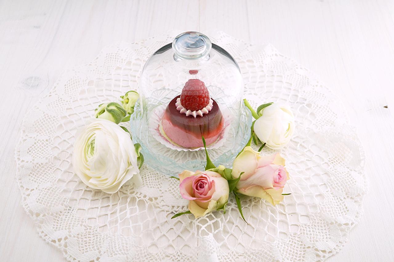 Фотография роза Торты Лютик Цветы Малина Продукты питания Розы цветок Еда Пища