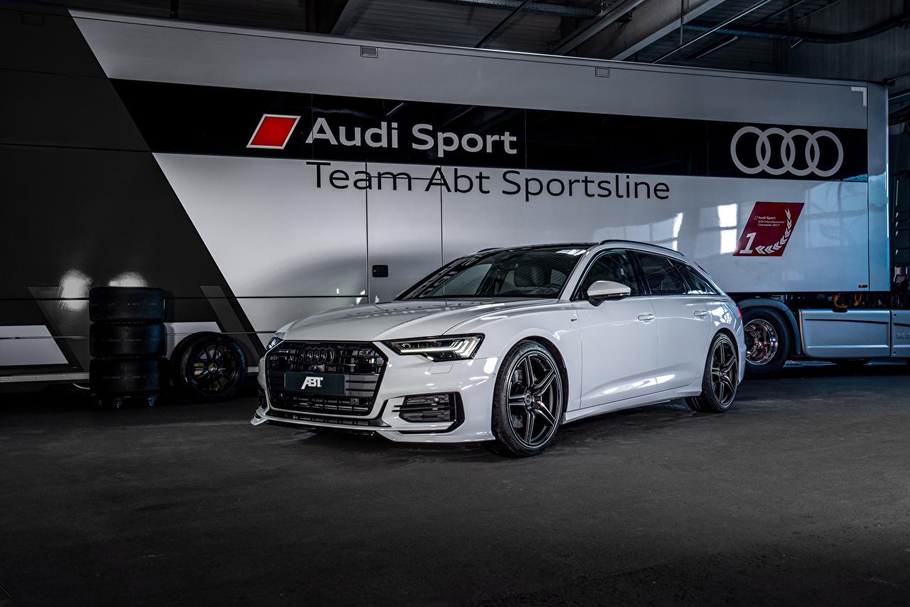 Картинки Ауди 2019 ABT A6 3.0 TDI Avant белых авто Металлик Audi белая белые Белый машина машины Автомобили автомобиль