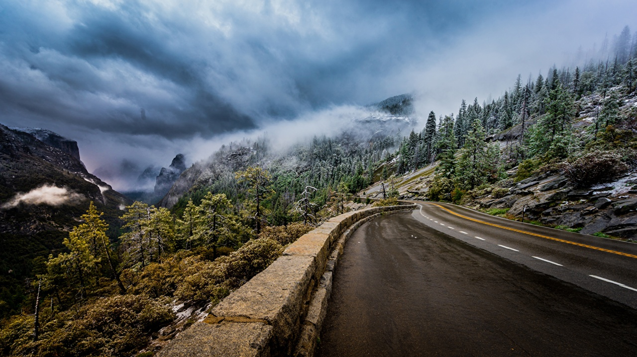 Картинка Йосемити Калифорния америка Sierra Nevada тумане Горы Природа Пейзаж Дороги облачно деревьев калифорнии США штаты Туман тумана гора дерева Облака дерево облако Деревья