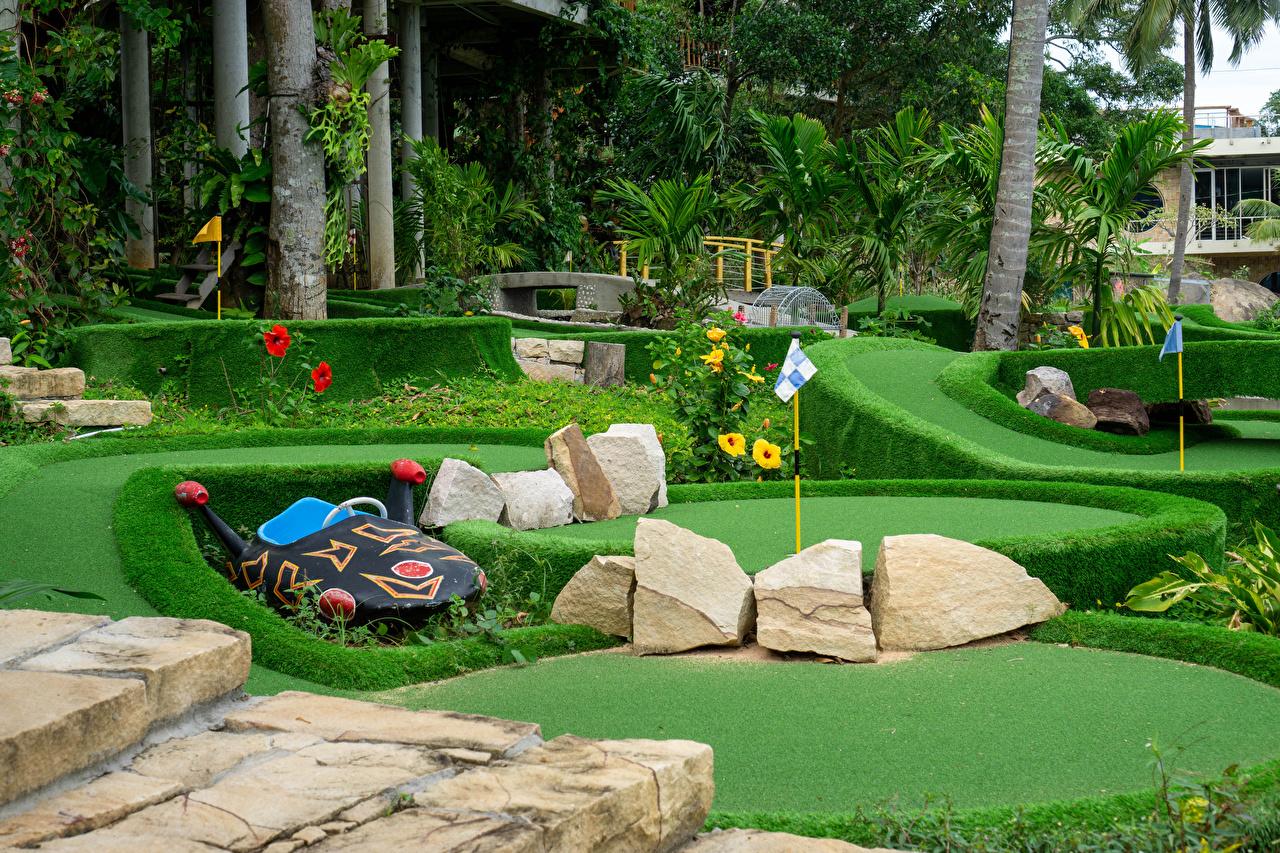 Картинки Вьетнам Insel Phu Quoc Гольф Природа парк пальма Камень газоне Кусты Дизайн Парки пальм Пальмы Камни Газон кустов дизайна