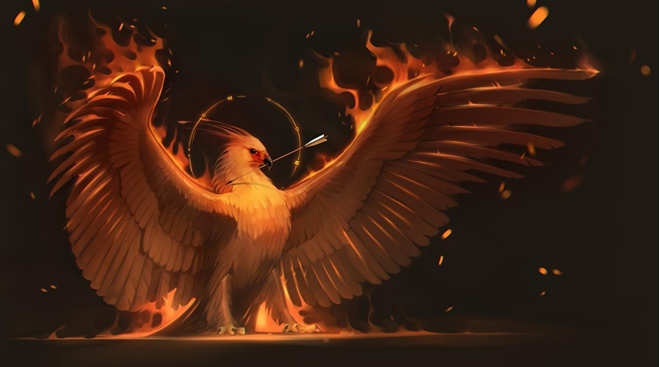Картинка Птицы Феникс Крылья Фэнтези Огонь Волшебные животные