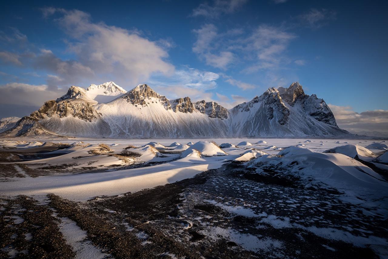 Фото Исландия Auster-Skaftafellssysla Vestrahorn Горы Природа снега гора Снег снегу снеге