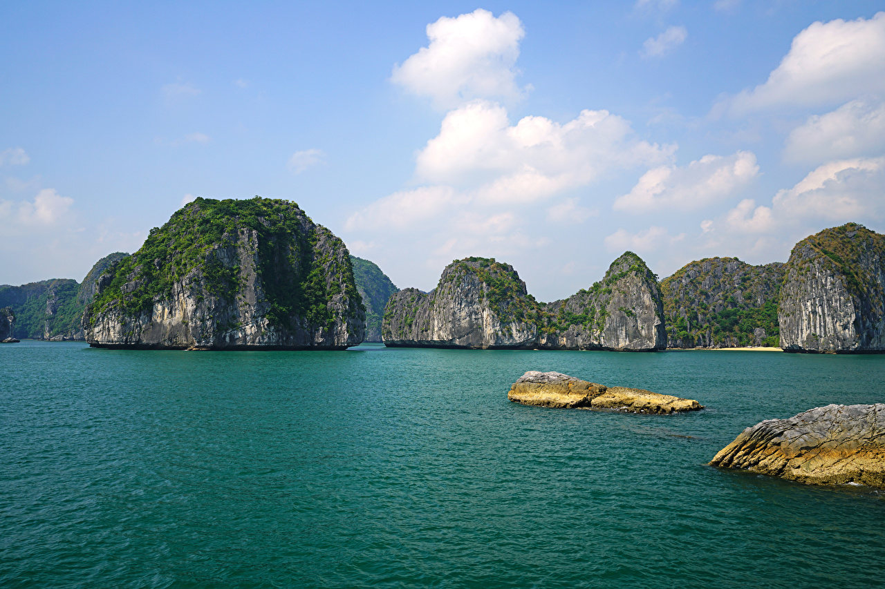 Фотографии Вьетнам Lan Ha Bay Скала Природа тропический Залив Утес скалы скале Тропики заливы залива