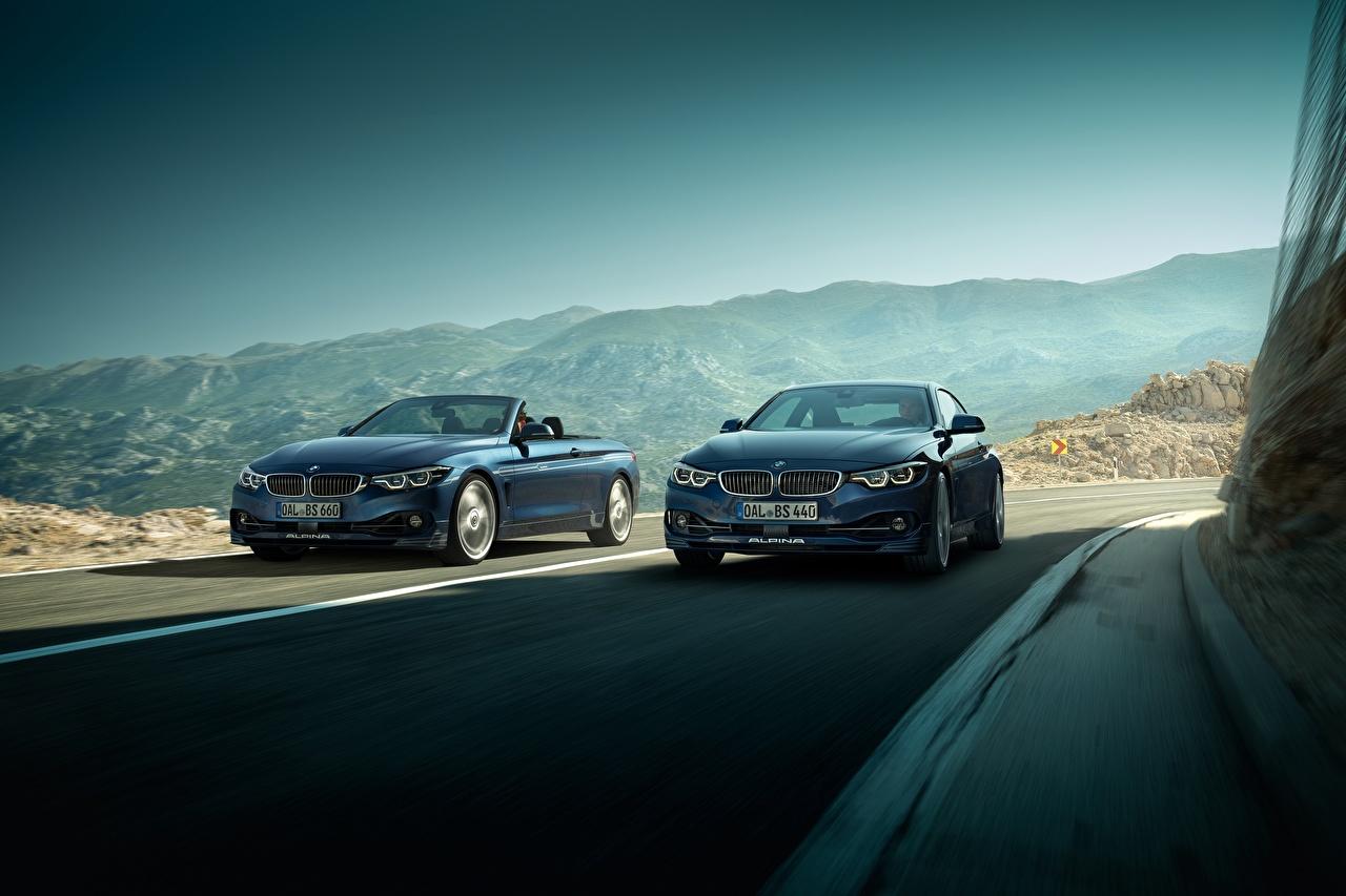 Фотографии BMW 2017 Alpina B4 S Bi-Turbo Coupe Alpina B4 S Bi-Turbo Cabrio вдвоем едет автомобиль БМВ 2 два две Двое едущий едущая скорость Движение авто машина машины Автомобили