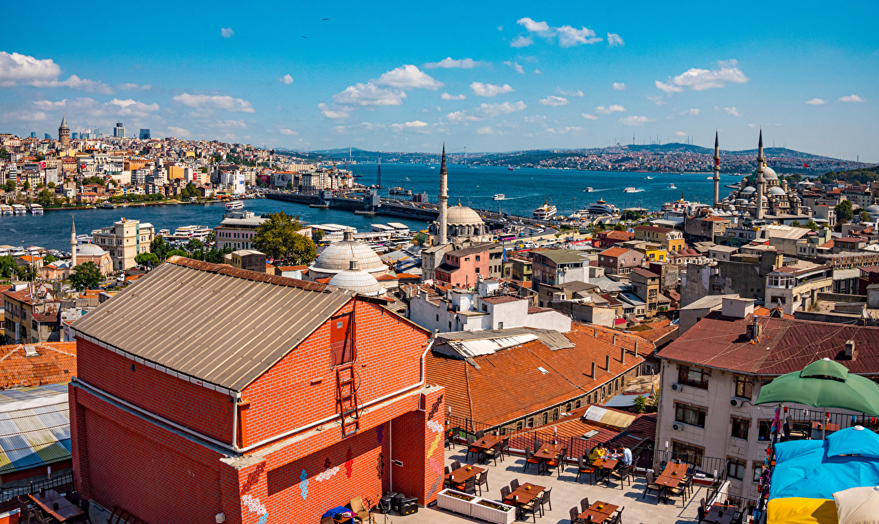 Картинка Стамбул Мечеть Турция Дома город Здания Города