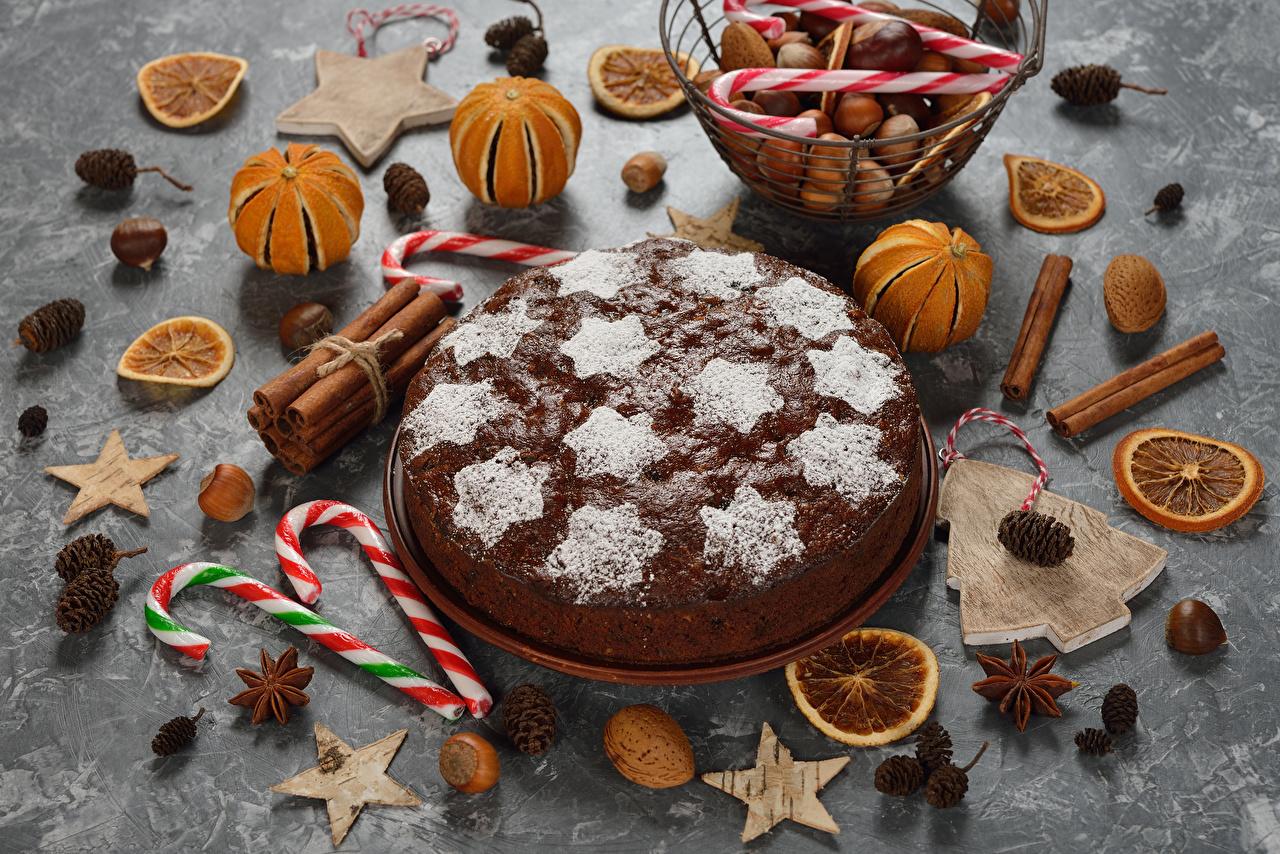 Фотография Новый год Торты Мандарины Бадьян звезда аниса Корица Еда Орехи Сладости дизайна Рождество Пища Продукты питания Дизайн