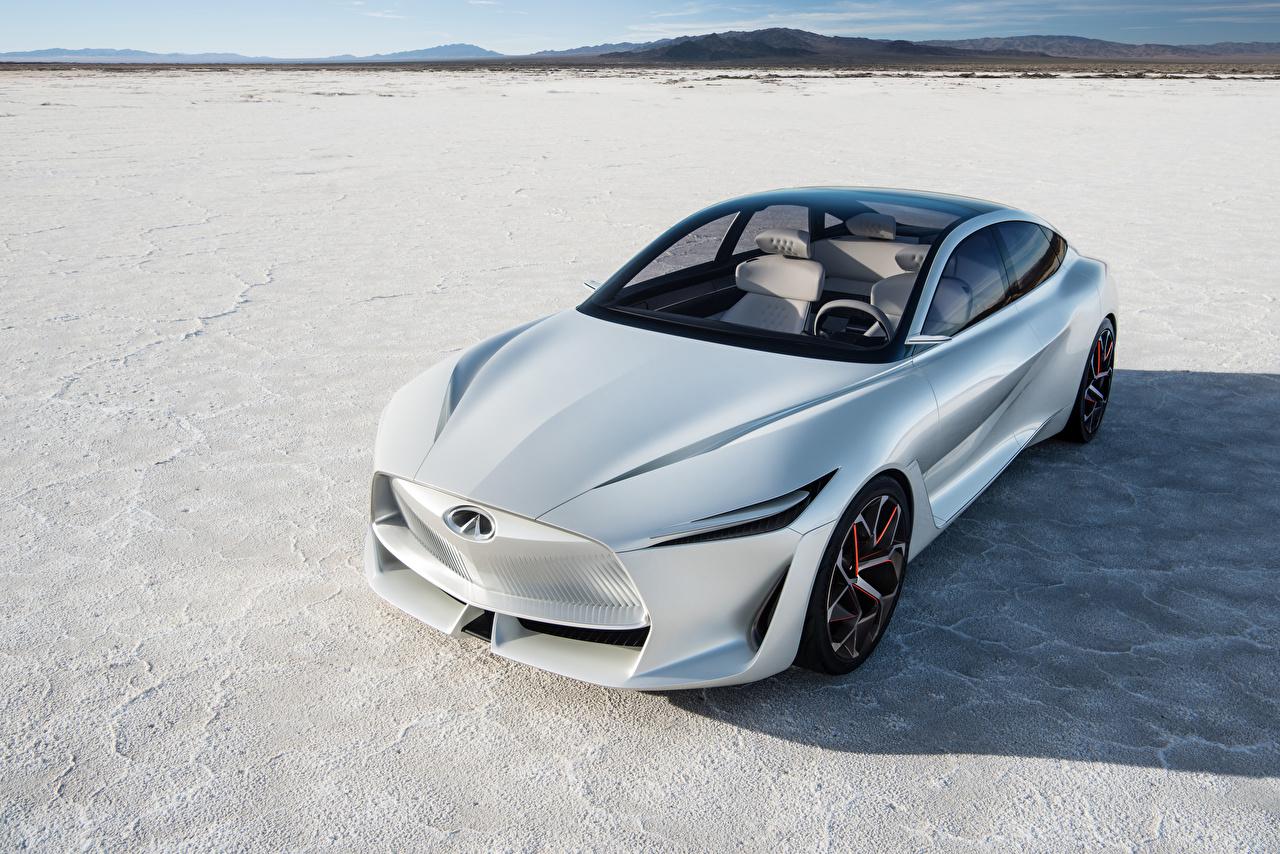 Картинка Infiniti 2018 Q Inspiration Concept белых машина Инфинити белая белые Белый авто машины Автомобили автомобиль