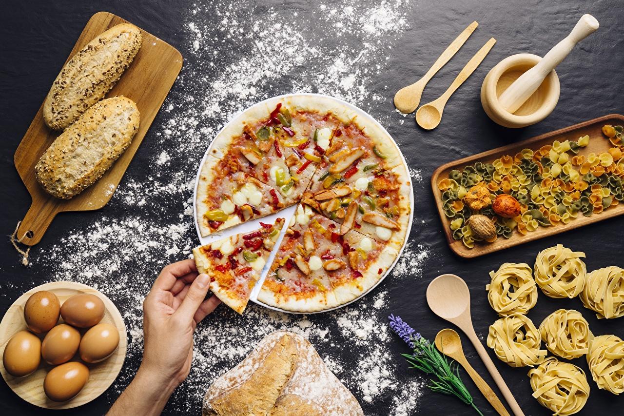Фотография Мука Пицца Кусок Еда часть Пища Продукты питания