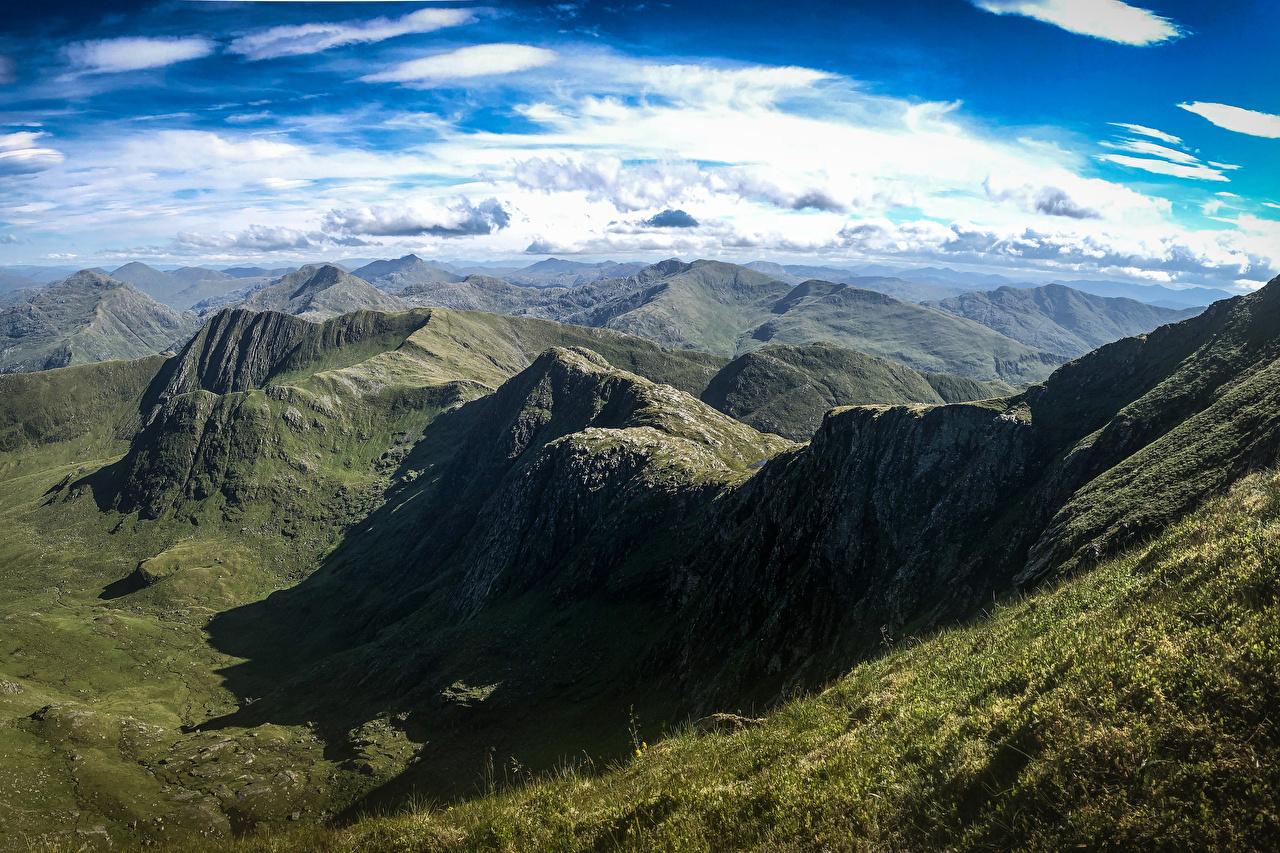 Фотография Шотландия Knoydart Горы Природа Небо Сверху Облака гора облако облачно