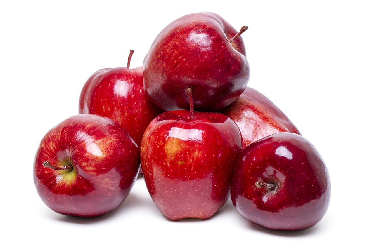 Фотографии красных Яблоки Продукты питания Белый фон Крупным планом Красный красные красная Еда Пища вблизи белом фоне белым фоном