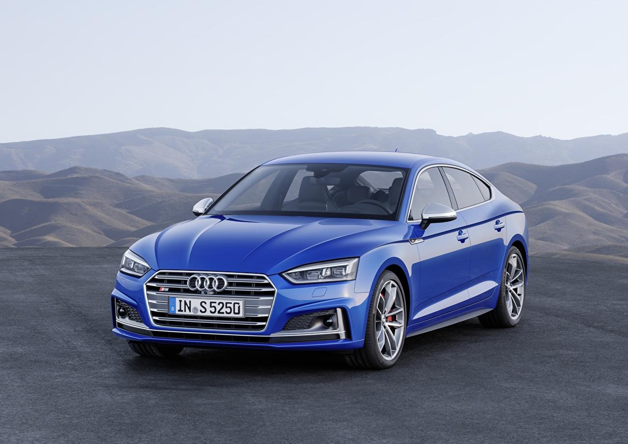 Фотография Ауди 2018 A5 S5 синих Автомобили Audi синяя синие Синий авто машины машина автомобиль