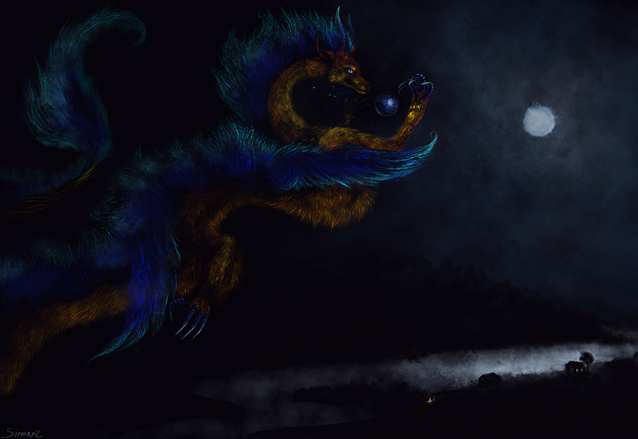 Фото Драконы Фэнтези ночью дракон Фантастика Ночь в ночи Ночные