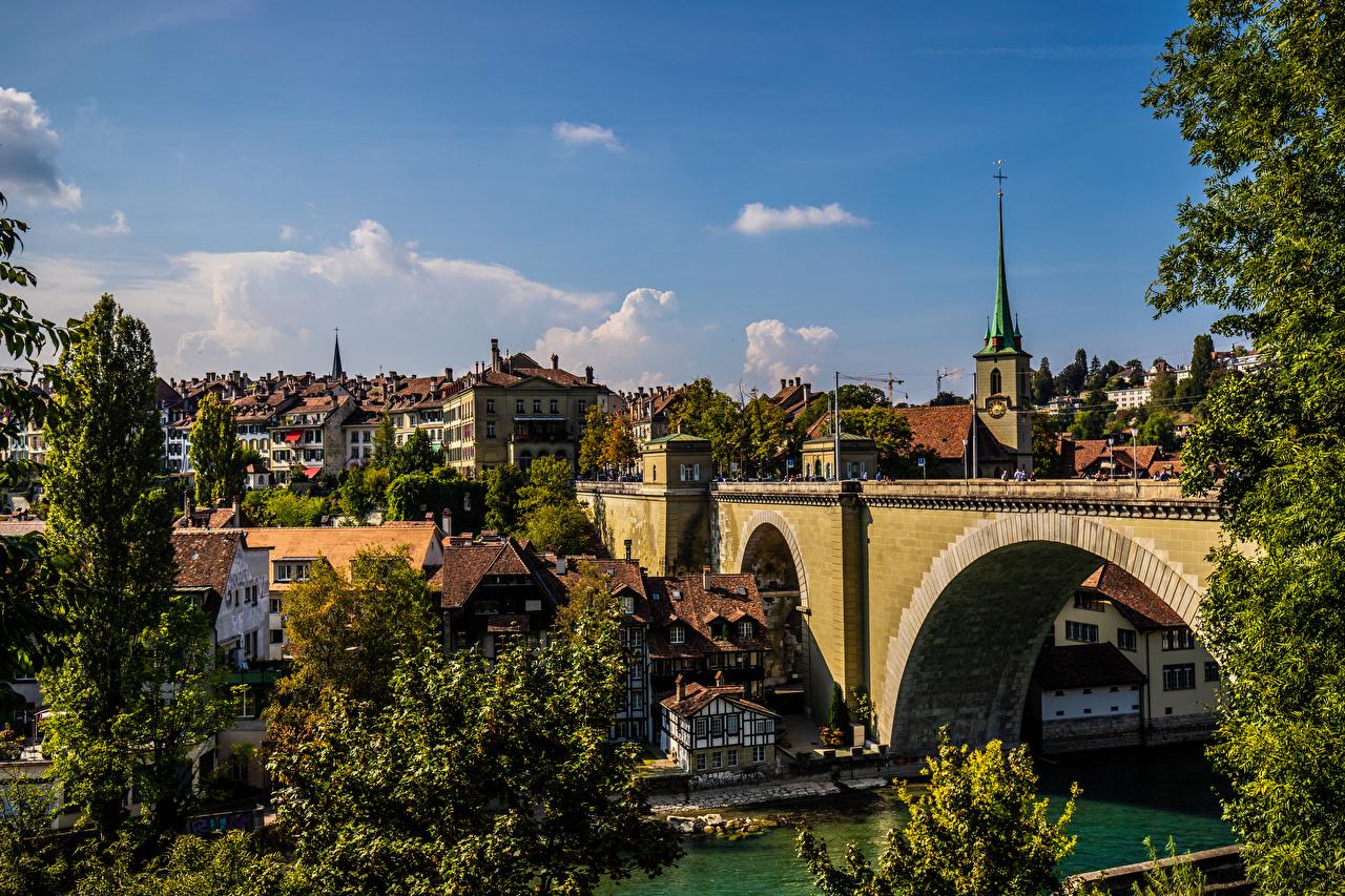 Картинка Берн Швейцария мост река Дома город Мосты Реки речка Здания Города