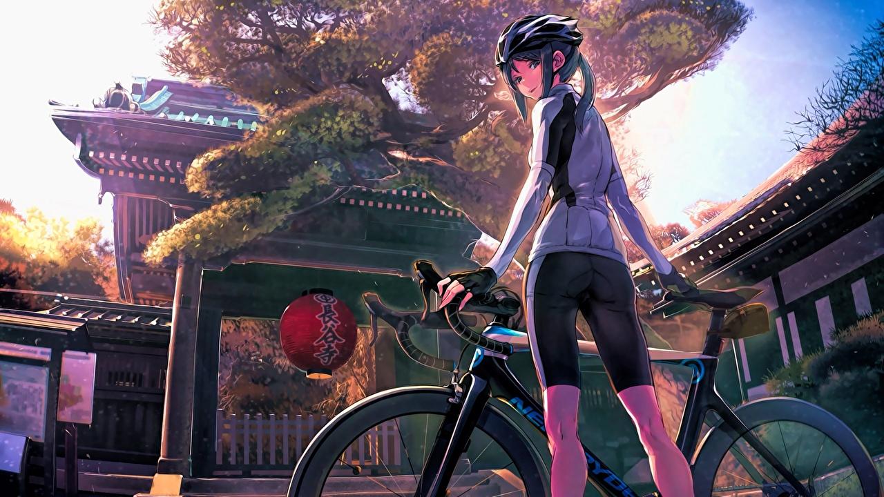 Картинки Япония Школьницы Шлем Minami Kamakura Koukou Joshi Jitensha-bu, Shiki Mori велосипеды Аниме Девушки ученица Школьница шлема в шлеме Велосипед велосипеде девушка молодая женщина молодые женщины