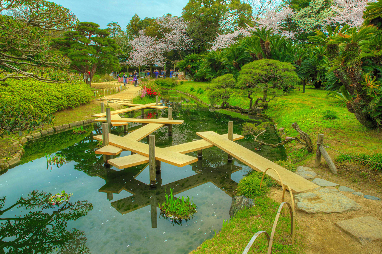 Картинки Япония Okayama Korakuen Garden HDR Мосты Природа парк Пруд Кактусы Деревья HDRI мост Парки дерево дерева деревьев