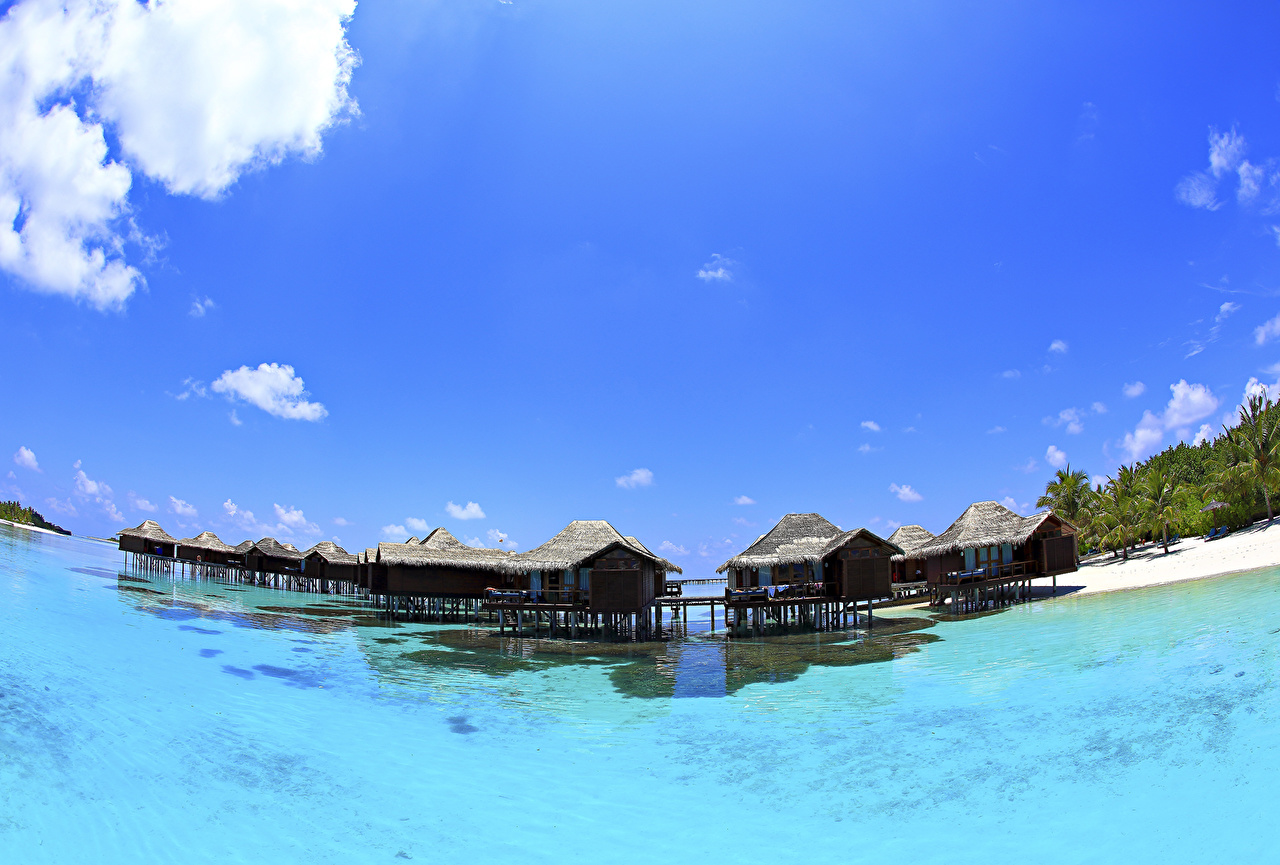 Картинка Мальдивы Бунгало Море Природа Небо Дома Здания