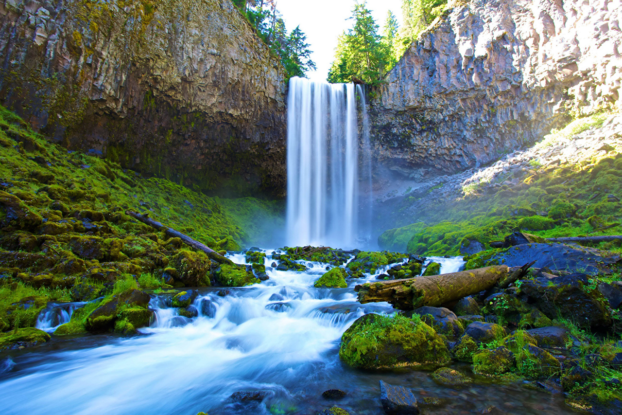 Картинка Утес Природа Водопады Мох Камень Скала Камни