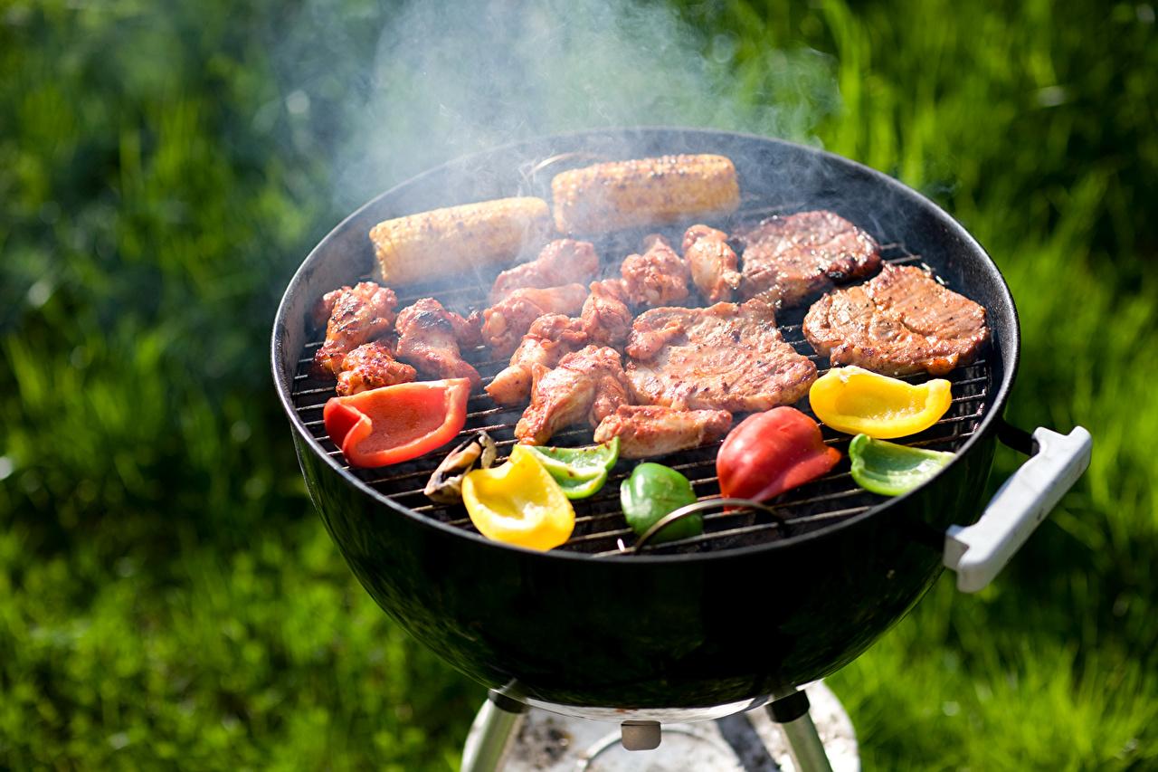 Обои для рабочего стола барбекю Перец Продукты питания Мясные продукты Еда Пища перец овощной