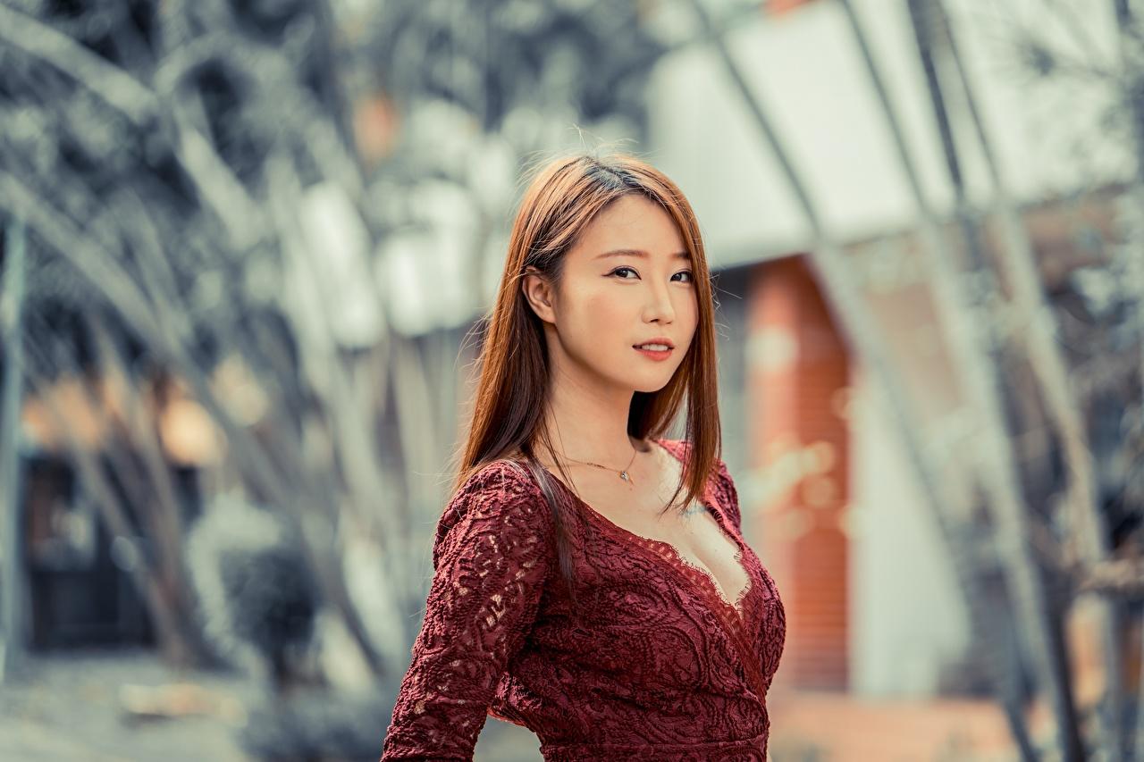 Картинки Шатенка Размытый фон девушка Азиаты смотрят шатенки боке Девушки молодые женщины молодая женщина азиатка азиатки Взгляд смотрит
