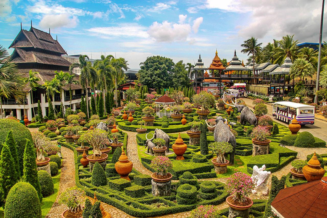 Картинка Таиланд Nong Nooch Tropical Botanical Garden Природа Парки Кусты Скульптуры Дизайн парк кустов скульптура дизайна