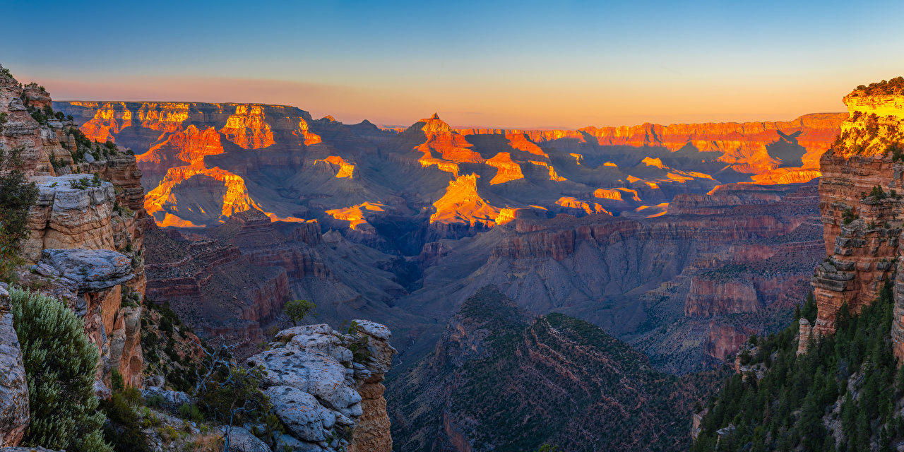 Картинки Гранд-Каньон парк америка панорамная Arizona Утес Каньон Природа Парки США штаты Панорама Скала скале скалы каньона каньоны парк