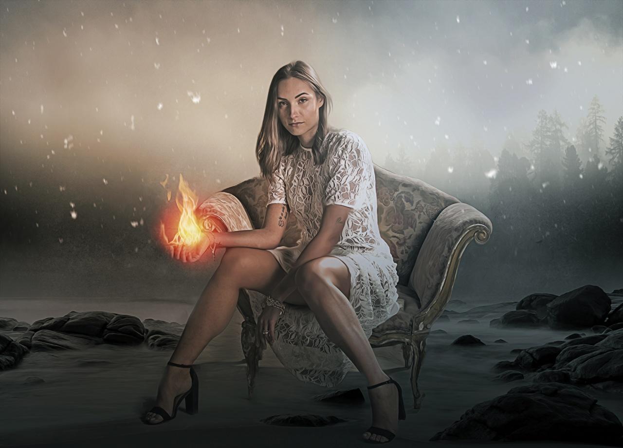 Картинки волшебство Фэнтези молодая женщина ног Огонь Сидит Кресло туфель Магия Девушки девушка Фантастика молодые женщины Ноги пламя сидя сидящие Туфли туфлях