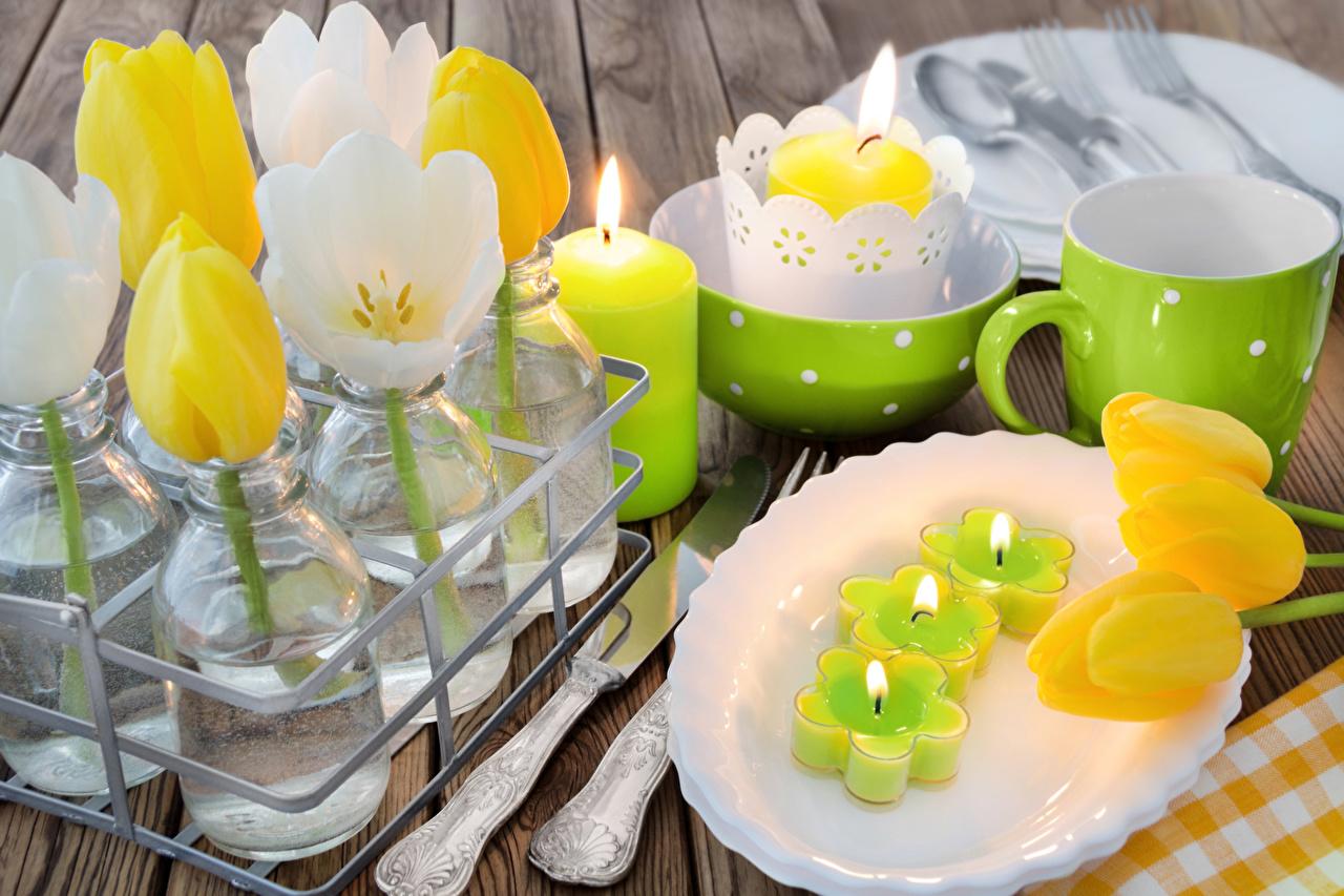 Фото Тюльпаны Цветы Свечи Чашка Тарелка