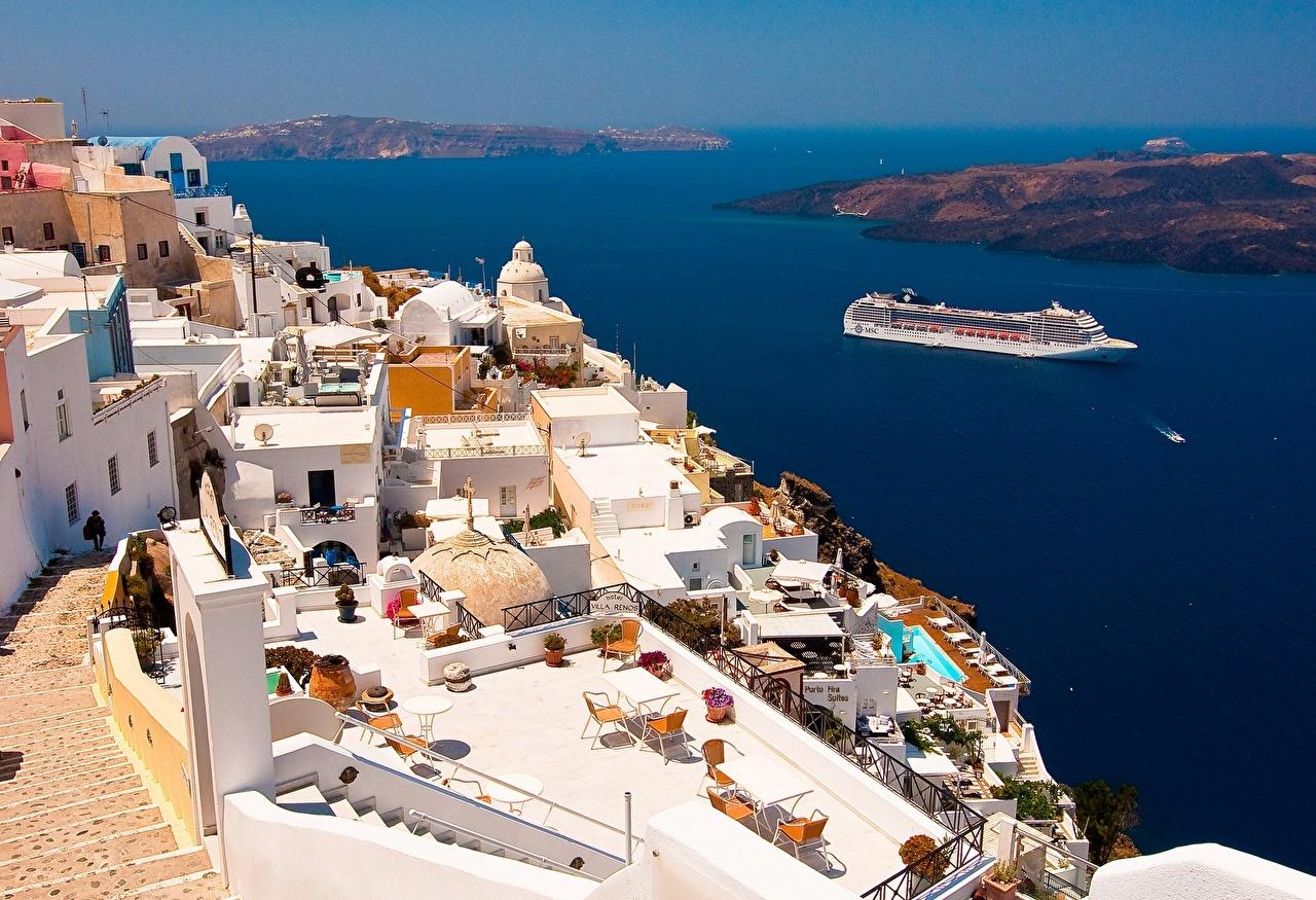 Обои для рабочего стола Фира Греция Круизный лайнер Oia Море Сверху Дома город Тира Санторини Здания Города