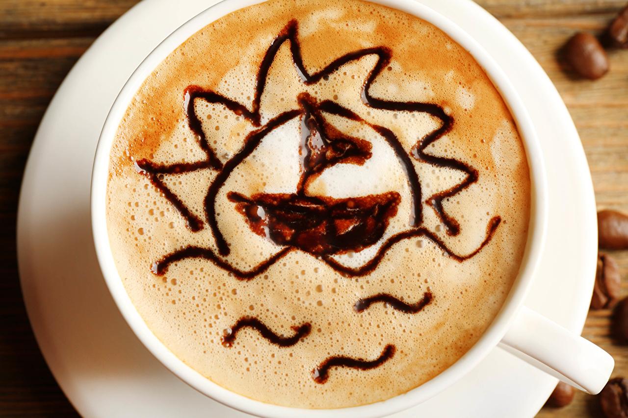 Фотография Кофе Пища чашке пеной вблизи Напитки Еда Пена пене Чашка Продукты питания Крупным планом напиток