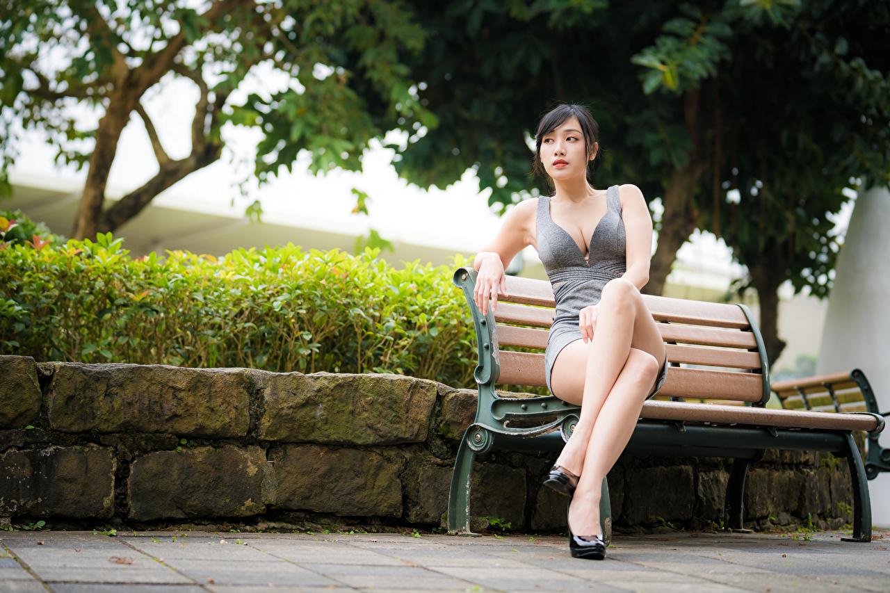 Фото вырез на платье Девушки ног Азиаты сидя Скамья Платье Декольте девушка молодые женщины молодая женщина Ноги азиатка азиатки Сидит сидящие Скамейка платья