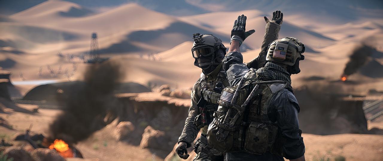 Обои для рабочего стола Battlefield 4 Солдаты американская вдвоем 3D Графика Игры солдат американский Американские 2 3д два две Двое компьютерная игра