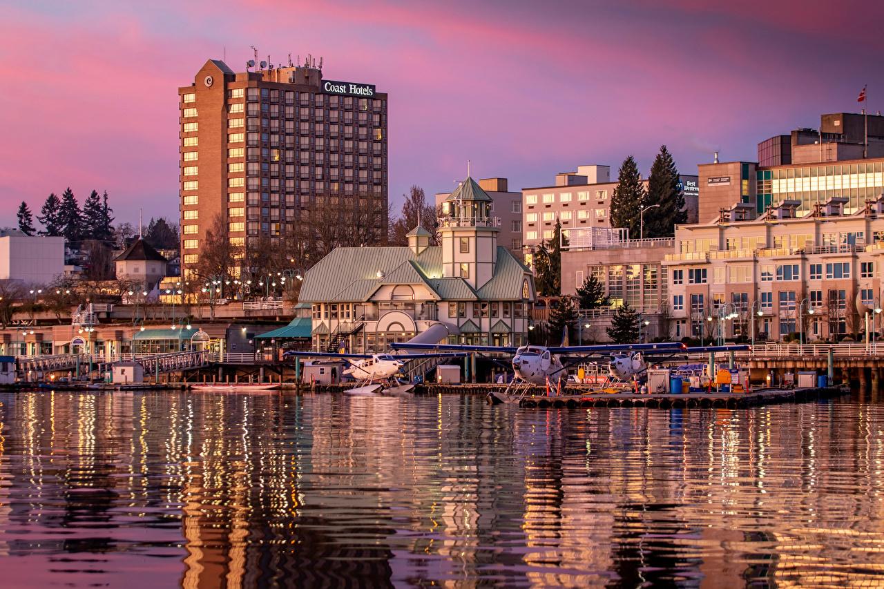 Обои Ванкувер Канада Nanaimo речка Причалы Города Здания Реки Пирсы Пристань Дома