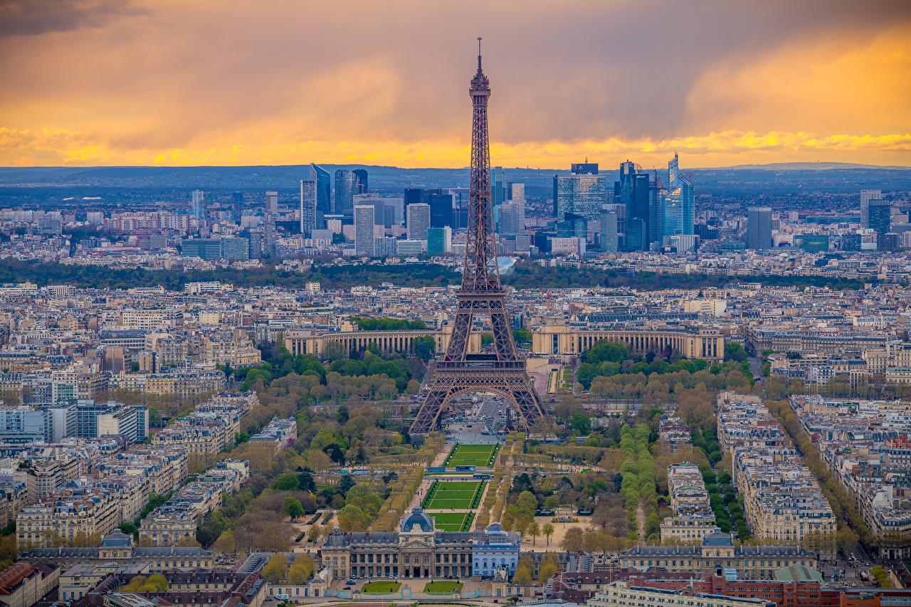 Фотография Париж Эйфелева башня Франция Сверху город Здания париже Дома Города