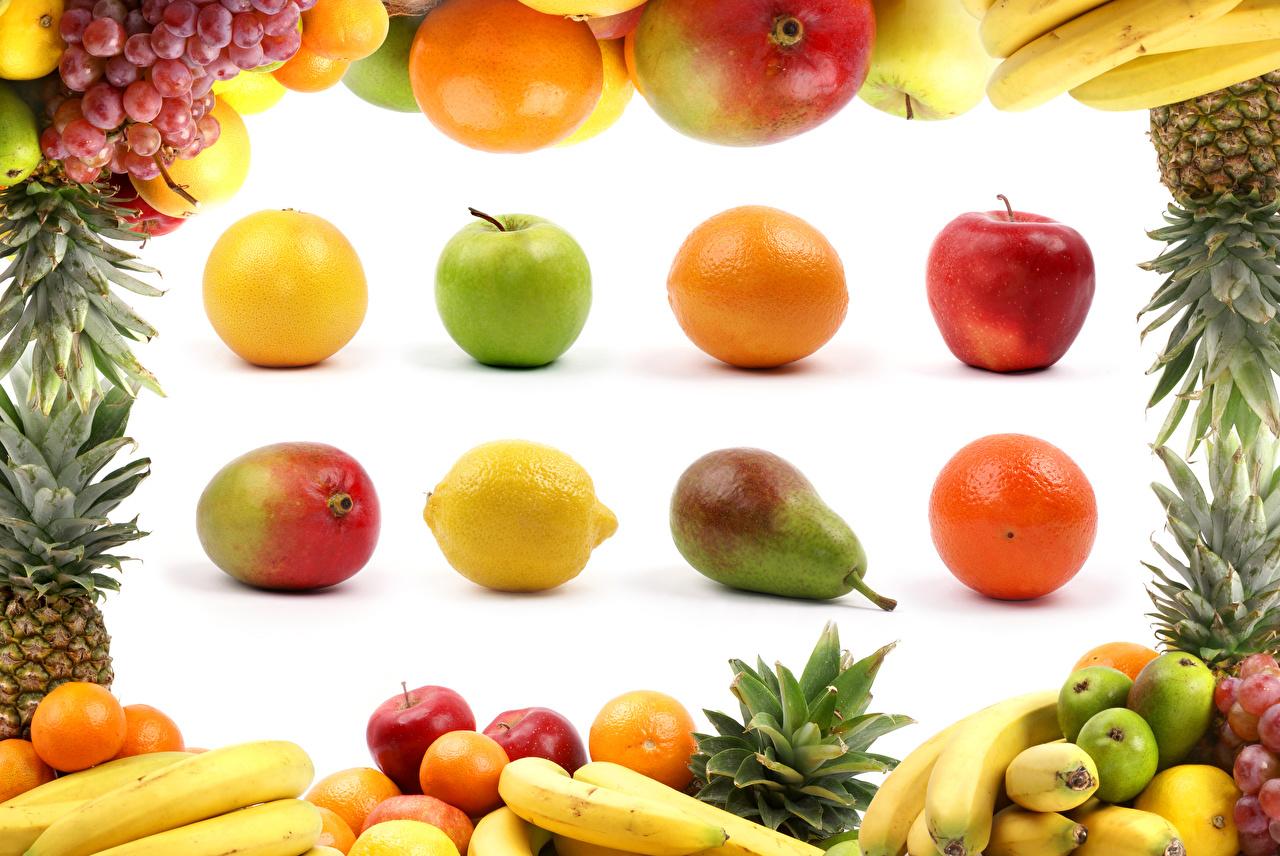 Картинки Апельсин Груши Лимоны Яблоки Бананы Авокадо Виноград Еда Фрукты Белый фон Пища Продукты питания