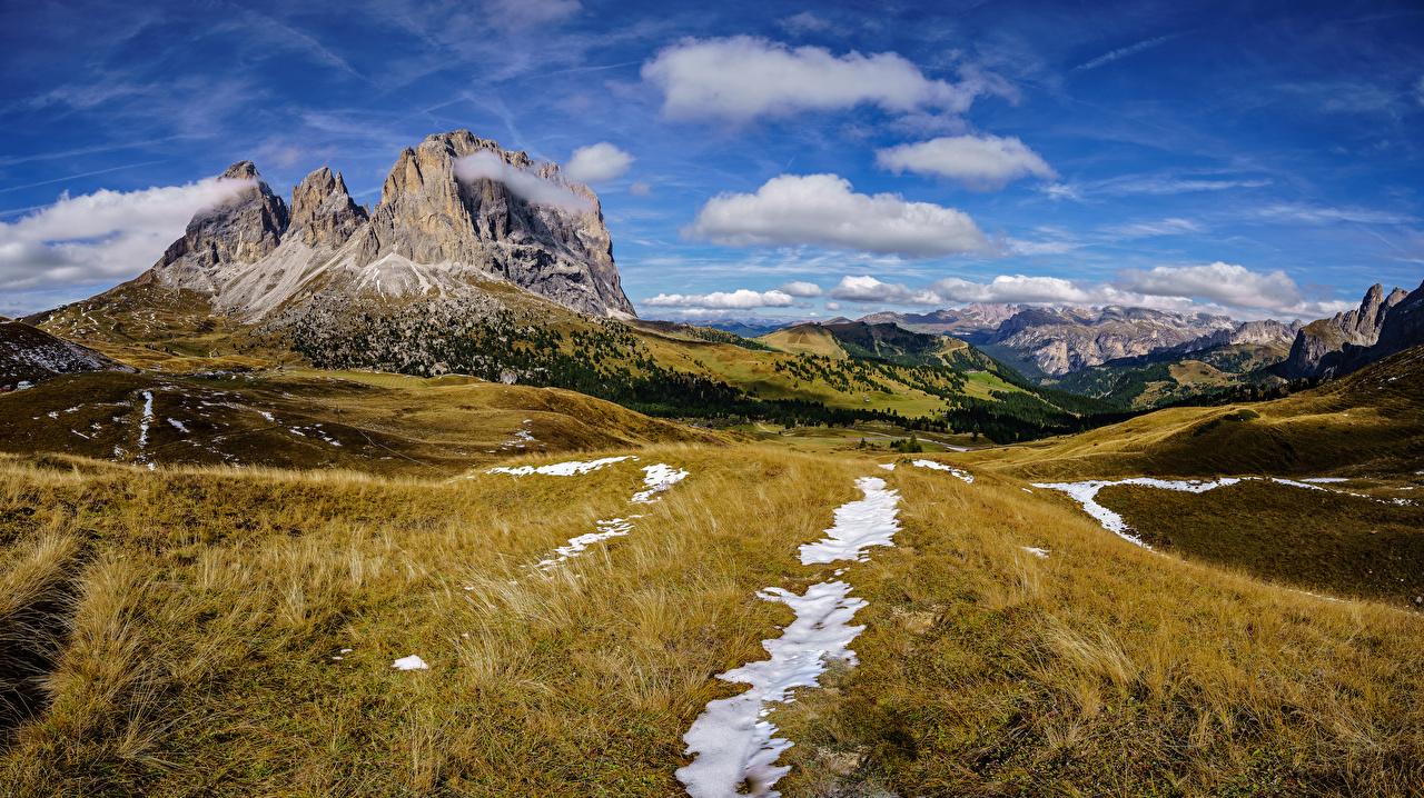 Фотография Альпы Италия Dolomites гора Скала Природа Небо Пейзаж Облака альп Горы Утес скале скалы облако облачно