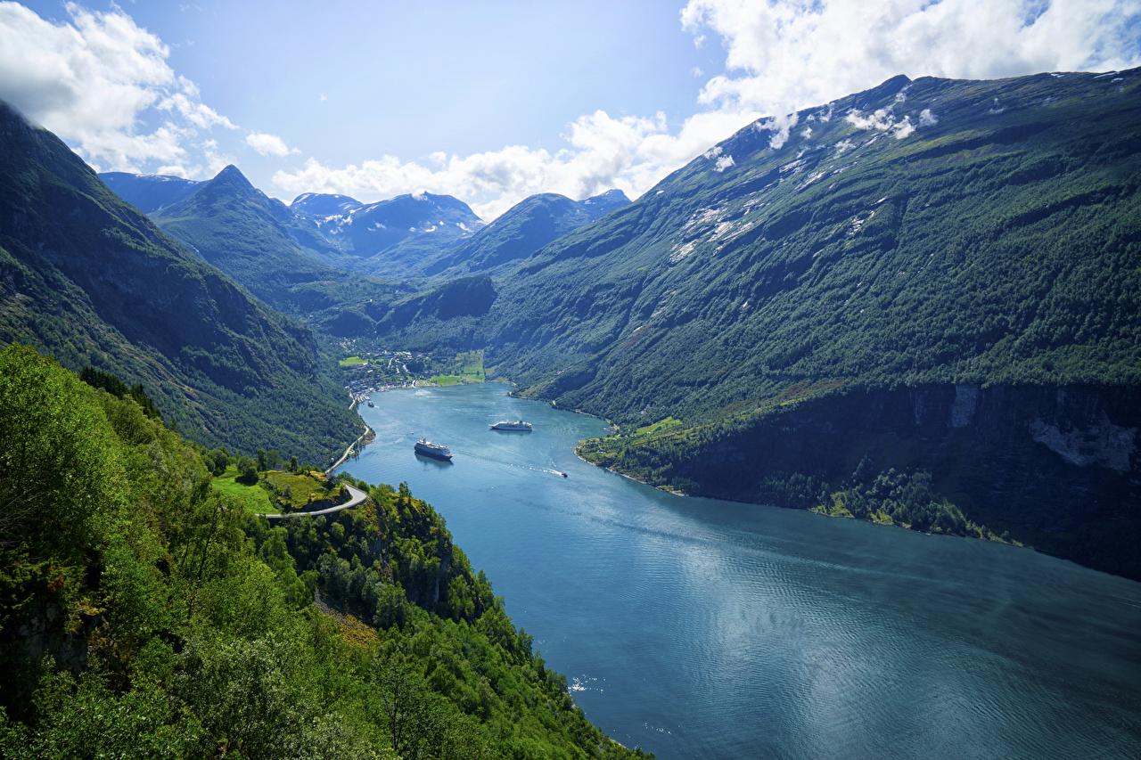 Картинки Норвегия Geiranger Fjord Горы Природа Залив гора заливы залива