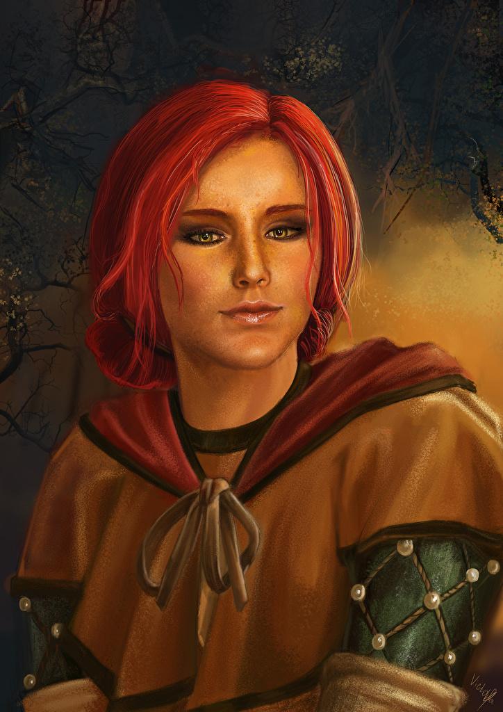 Фотографии The Witcher 3: Wild Hunt Рыжая Triss Merigold Девушки Игры смотрит Ведьмак 3: Дикая Охота Взгляд