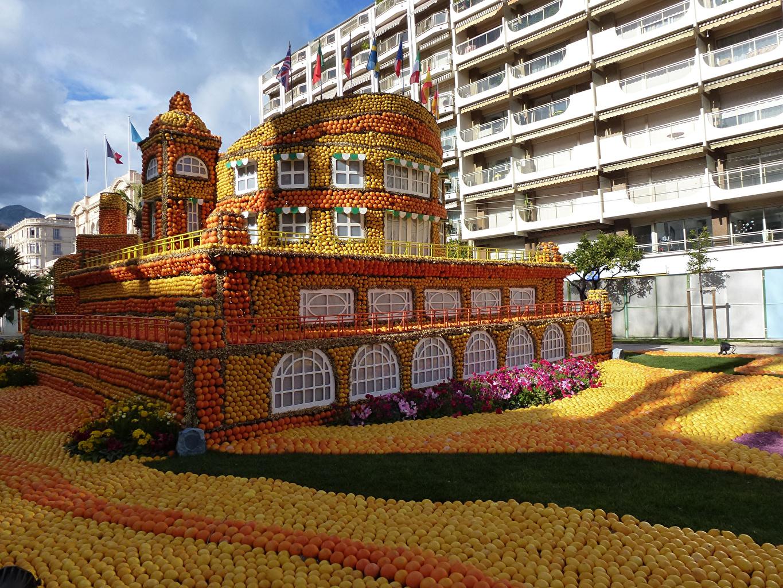 Картинка Франция Lemon Festival Menton Апельсин Парки Лимоны Здания Города Цитрусовые Дизайн Дома
