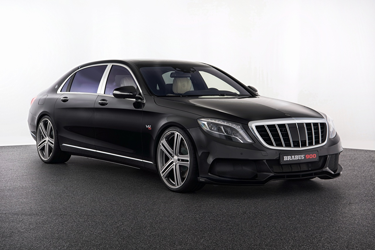 Обои Mercedes-Benz Брабус X222 S-Class черная автомобиль Мерседес бенц Brabus черных черные Черный авто машина машины Автомобили
