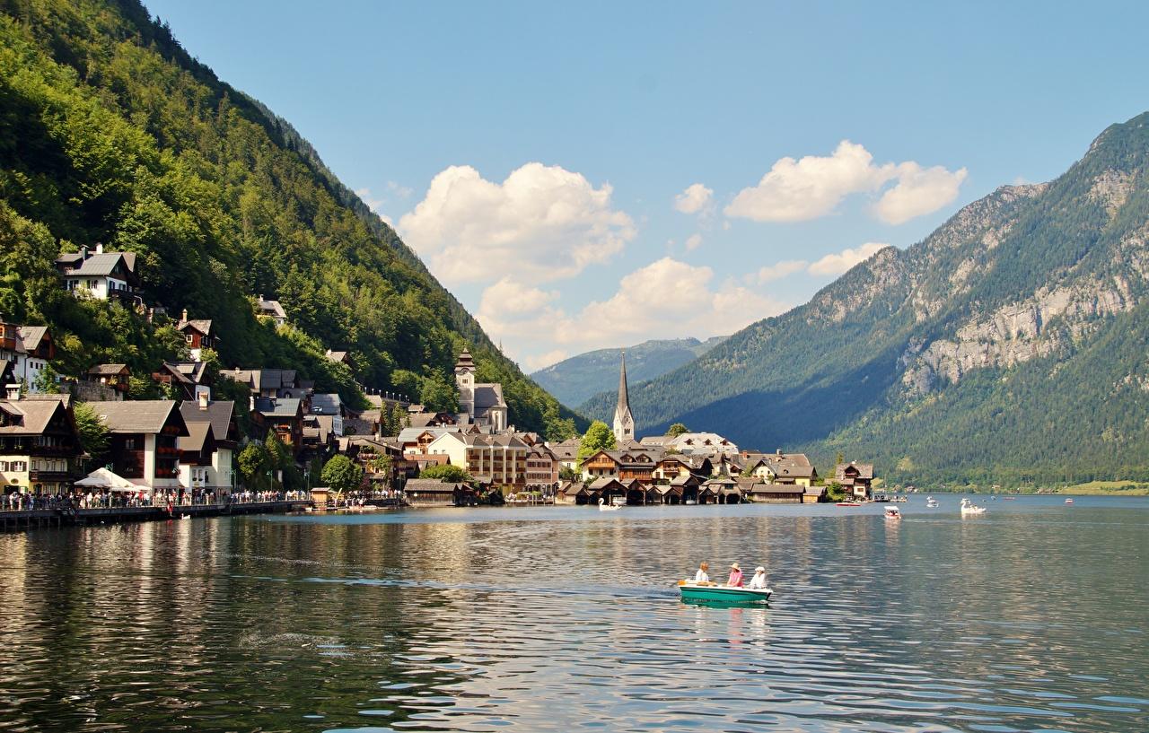 Фотографии Халльштатт Альпы Австрия Gmunden County Горы Природа Озеро Лодки Пристань Города Здания Пирсы Причалы Дома