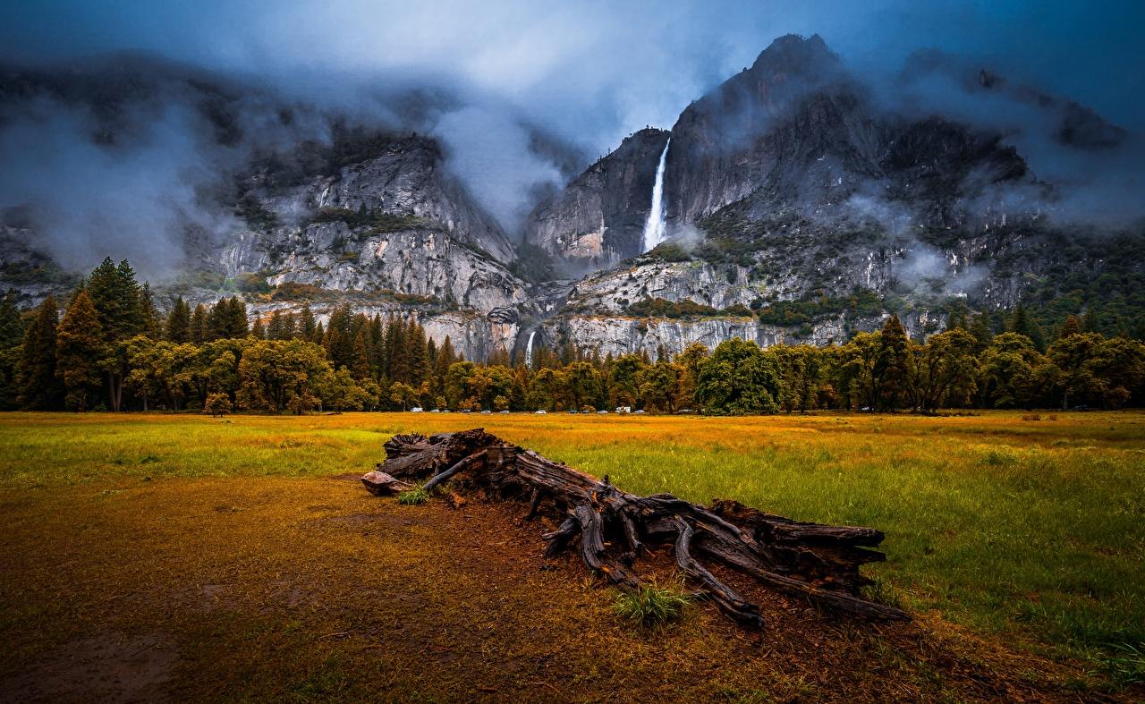 Фотографии Йосемити калифорнии США Горы Природа Водопады Пейзаж облако Калифорния штаты америка гора Облака облачно