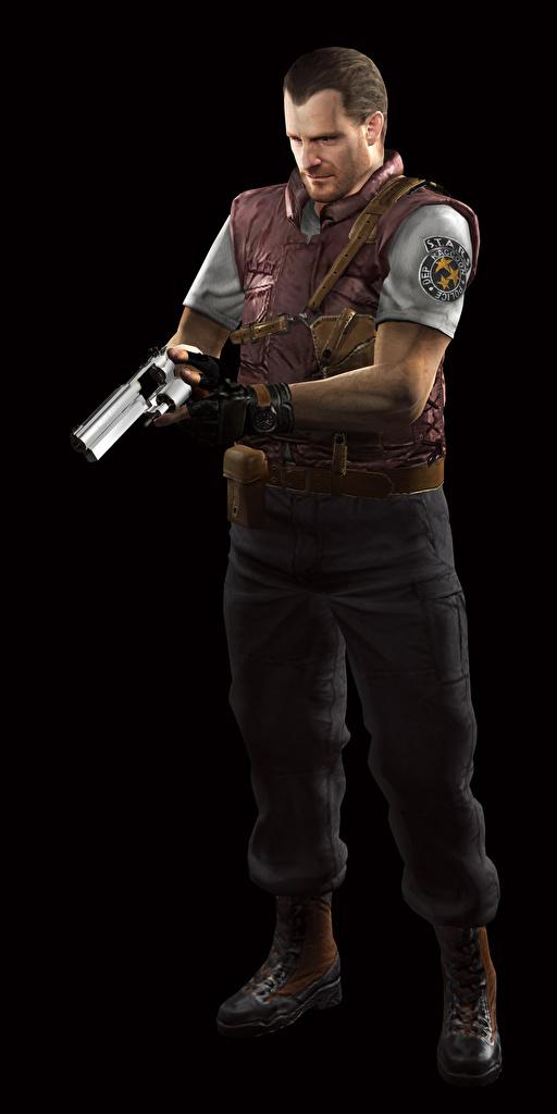 Фотографии Resident Evil Пистолеты Полицейские Barry 3D Графика Игры Черный фон пистолет пистолетом полицейский полицейская полицейский 3д компьютерная игра на черном фоне