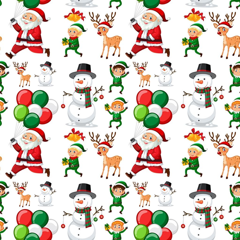 Фото Олени Текстура Новый год Санта-Клаус снеговика Белый фон Рождество Дед Мороз снеговик Снеговики белом фоне белым фоном